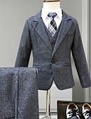 お買い得  男児 ウェアセット-子供 男の子 活発的 ソリッド 長袖 レギュラー アンサンブル ネイビーブルー