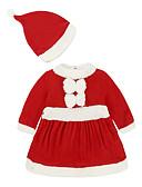 olcso Bébi ruházat-Baba Lány Aktív / Alap Mikulás Egyszínű / Karácsony Hosszú ujj Egy darabos Rubin