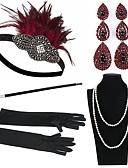 billige Historiske kostymer og vintagekosty,re-The Great Gatsby Charleston Vintage 1920s De livlige 20-årene Kostyme tilbehørssett Hansker Halskjede Flapperpannebånd i 1920-stil Dame Kostume Hodeplagg Øredobb Perlehalskjede Svart / Rød Vintage