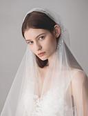 ราคาถูก ม่านสำหรับงานแต่งงาน-ชั้นเดียว รูปแบบสไตล์ยุโรป ผ้าคลุมหน้าชุดแต่งงาน ผ้าคลุมศรีษะสำหรับชุดแต่งงาน กับ คริสตัล / พลอยเทียมต่างๆ 47.24 นิ้ว (120ซม.) ฝ้าย / ไนลอนด้วยคำแนะนำของการยืด
