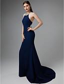 Χαμηλού Κόστους Βραδινά Φορέματα-Τρομπέτα / Γοργόνα Δένει στο Λαιμό Ουρά Ζέρσεϊ Όμορφη Πλάτη / Κομψό Επίσημο Βραδινό Φόρεμα 2020 με Χάντρες