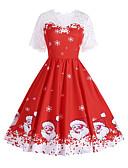 povoljno Ženske haljine-Žene Vintage Osnovni Swing kroj Haljina - Print, Snowflake Do koljena Djed Mraz