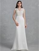 billiga Brudklänningar-Åtsmitande V-hals Svepsläp Spets / Satäng Regelbundna band Bröllopsklänningar tillverkade med Spets 2020