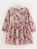 זול שמלות שושבינה-שמלה שרוול ארוך פרחוני ורד מאובק בסיסי בנות ילדים