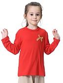 billige Blomsterpikekjoler-Barn Jente Grunnleggende Daglig Ensfarget Sløyfe Langermet Normal T-skjorte Grå