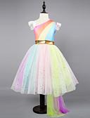 Χαμηλού Κόστους Φορέματα για κορίτσια-Παιδιά Νήπιο Κοριτσίστικα Ενεργό Γλυκός Πάρτι Αργίες Unicorn Ουράνιο Τόξο Αμάνικο Ασύμμετρο Φόρεμα Ουράνιο Τόξο