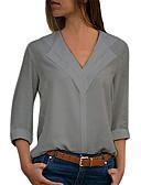 baratos Blusas Femininas-Mulheres Tamanhos Grandes Blusa Básico Sólido Decote V Verde Tropa / Primavera / Outono
