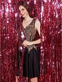 Χαμηλού Κόστους Φορέματα Ξεχωριστών Γεγονότων-Γραμμή Α Λαιμόκοψη V Κοντό / Μίνι Δαντέλα / Τούλι Κομψό / Beaded & Sequin Κοκτέιλ Πάρτι / Καλωσόρισμα Φόρεμα 2020 με Διακοσμητικά Επιράμματα