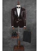お買い得  スーツ-ソリッド テイラーフィット ポリエステル スーツ - ノッチドラペル シングルブレスト 一つボタン