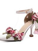 זול שמלות לילדות פרחים-בגדי ריקוד נשים נעלי נוחות PU אביב עקבים עקב סטילטו לבן / ורוד / חתונה / יומי