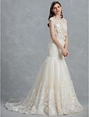 baratos Vestidos de Casamento-Sereia Bateau Neck Cauda Corte Renda / Tule Vestidos de casamento feitos à medida com Apliques / Renda de LAN TING BRIDE®