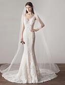 ราคาถูก ม่านสำหรับงานแต่งงาน-ชั้นเดียว รูปแบบสไตล์ยุโรป ผ้าคลุมหน้าชุดแต่งงาน ผ้าคลุมหน้าในโบสถ์ กับ ไม่มีลาย 118.11นิ้ว (300ซม.) ฝ้าย / ไนลอนด้วยคำแนะนำของการยืด