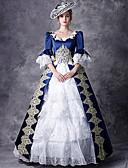 ราคาถูก ชุดโลลิต้า-Victorian ขุนนาง Rococo Barroco Victorian ศตวรรษที่ 18 คอสี่เหลี่ยม หนึ่งชิ้น ชุดเดรส Outfits Party Costume Masquerade สำหรับผู้หญิง ลูกไม้ เครื่องแต่งกาย สีแดง / ฟ้า Vintage คอสเพลย์ ปาร์ตี้ Prom