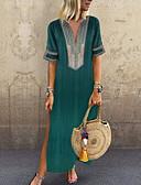 ราคาถูก เสื้อเชิ้ตสำหรับสุภาพสตรี-สำหรับผู้หญิง ขนาดพิเศษ พื้นฐาน โบโฮ ฝ้าย หลวม ทูนิค แต่งตัว - ลายพิมพ์, สีพื้น ขนาดใหญ่ คอวีลึก Dusty Rose