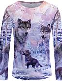 ราคาถูก เสื้อยืดและเสื้อกล้ามผู้ชาย-สำหรับผู้ชาย ขนาดพิเศษ เสื้อเชิร์ต โบโฮ / Street Chic คลับ ลายพิมพ์ คอกลม เพรียวบาง ลายบล็อคสี / สัตว์ Wolf ตะพุ่น / แขนยาว / ฤดูหนาว