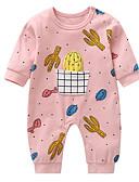 זול שמלות לתינוקות-מקשה אחת One-pieces כותנה שרוול ארוך דפוס בסיסי בנות תִינוֹק