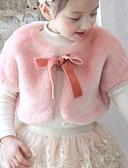 olcso Lány dzsekik és kabátok-Gyerekek Kisgyermek Lány Alap Egyszínű Ujjatlan Műszőrme Mellény Fekete