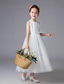 billige Blomsterpikekjoler-Prinsesse Gulvlang Blomsterpikekjole - Polyester Ermeløs Besmykket med Blonder / Belte / bånd / Solid / Konfirmasjon