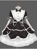 povoljno Lolita moda-Sweet Lolita Elegantno Haljine Djevojčice Ženska Čipka Pamuk Japanski Cosplay Kostimi Crn / Plava / Pink Vintage Čipka Puff rukav Dugih rukava Do koljena
