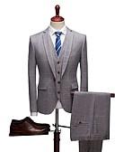 povoljno Odijela-Jednobojni Standardni kroj polyster Odijelo - Stepenasti Droit 1 bouton / odijela