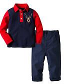ราคาถูก ชุดเสื้อผ้าเด็กผู้ชาย-เด็ก Toddler เด็กผู้ชาย ซึ่งทำงานอยู่ พื้นฐาน คริสมาสต์ ทุกวัน ลายบล็อคสี การ์ตูน คริสมาสต์ แขนยาว ปกติ ปกติ ชุดเสื้อผ้า สีน้ำเงินกรมท่า