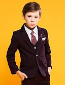 Χαμηλού Κόστους Κοστούμια για Παιδιά που Κουβαλάνε τις Βέρες-Σταφύλι / Σκούρο Μπλε Μαρέν Βαμβάκι / POLY / Vicose Κοστούμι για Αγοράκι με Βέρες - 4 Κομμάτια Περιλαμβάνει Σακάκι / Γιλέκο / Παντελόνια