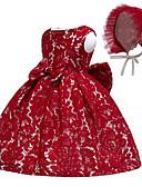 Χαμηλού Κόστους Λουλουδάτα φορέματα για κορίτσια-Μωρό Κοριτσίστικα Ενεργό / Βασικό Πάρτι / Γενέθλια Μονόχρωμο Δαντέλα Αμάνικο Ως το Γόνατο Βαμβάκι Φόρεμα Φούξια