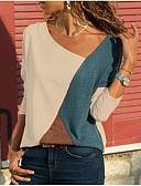 billige T-skjorter til damer-V-hals Store størrelser Bluse Dame - Fargeblokk Hvit / Vår / Høst