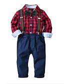 ราคาถูก ชุดเสื้อผ้าเด็กผู้ชาย-เด็ก เด็กผู้ชาย พื้นฐาน Houndstooth คริสมาสต์ แขนยาว ฝ้าย ชุดเสื้อผ้า ทับทิม