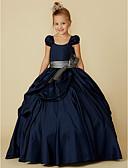 Χαμηλού Κόστους Λουλουδάτα φορέματα για κορίτσια-Βραδινή τουαλέτα Μακρύ Φόρεμα για Κοριτσάκι Λουλουδιών - Ταφτάς Κοντομάνικο Scoop Neck με Φιόγκος(οι) / Ζώνη