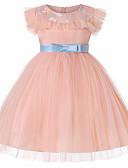 povoljno Haljine za djevojčice-Djeca Djevojčice Aktivan Dnevno Jednobojni Mašna Bez rukávů Do koljena Haljina Blushing Pink