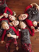 povoljno Obiteljski komplet odjeće-Obiteljski izgled Osnovni Božić Sport Slovo Kratkih rukava Komplet odjeće Sive boje