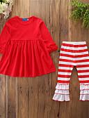 povoljno Suknje za djevojčice-Djeca Dijete koje je tek prohodalo Djevojčice Aktivan Osnovni Dnevno Sport Jednobojni Prugasti uzorak Nabori Drapirano Dugih rukava Duga Pamuk Komplet odjeće Djetelina