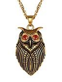 ราคาถูก กางเกงผู้ชาย-สำหรับผู้ชาย สีแดง Cubic Zirconia สร้อยคอจี้ จี้ Owl แฟชั่น สไตล์น่ารัก เหล็กกล้าไร้สนิม สีทอง สีเงิน 55 cm สร้อยคอ เครื่องประดับ 1pc สำหรับ ของขวัญ ทุกวัน