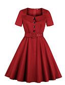 baratos Vestidos de Mulher-Mulheres Tamanhos Grandes Básico Bainha Vestido Decote U Altura dos Joelhos