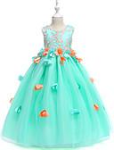 Χαμηλού Κόστους Λουλουδάτα φορέματα για κορίτσια-Πριγκίπισσα Μάξι Φόρεμα για Κοριτσάκι Λουλουδιών - Οργάντζα / Τούλι / Σατέν σιφόν Αμάνικο Με Κόσμημα με Πέταλα / Διακοσμητικά Επιράμματα / Σε επίπεδα