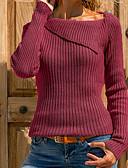 Χαμηλού Κόστους Γυναικεία Πουλόβερ-Γυναικεία Καθημερινά Βασικό Μονόχρωμο Μακρυμάνικο Μεγάλα Μεγέθη Κανονικό Πουλόβερ Πουλόβερ Jumper, Στρογγυλή Λαιμόκοψη Μαύρο / Κρασί / Λευκό Τ / M / L