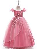 olcso Virágszóró kislány ruhák-Hercegnő Földig érő Virágoslány ruha - Poliészter Rövid ujjú Aszimmetrikus val vel Hímzés / Csipke által LAN TING Express