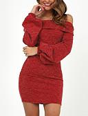 baratos Vestidos Suéter-Mulheres Para Noite Básico Moda de Rua Delgado Tubinho Bainha Vestido - Frente Única, Sólido Ombro a Ombro Acima do Joelho / Super Sexy