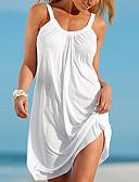ราคาถูก มินิเดรส-สำหรับผู้หญิง ชายหาด Shift แต่งตัว สีพื้น ขนาดเล็ก สาย White