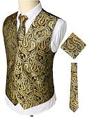 olcso Férfi nyakkendők és csokornyakkendők-Férfi Munka / Klub Üzlet / Luxus / Vintage Tavasz / Ősz / Tél Szokványos Prsluk, Paisley V-alakú Ujjatlan Pamut / Spandex Nyomtatott Arany / Üzleti alkalmi / Vékony