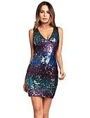 povoljno Print Dresses-Žene Pamuk Slim Bodycon Haljina - Šljokice, Color block Šljokice Duboki V Iznad koljena Visoki struk