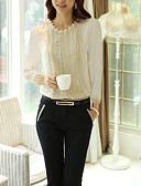 ราคาถูก เสื้อผู้หญิง-สำหรับผู้หญิง เสื้อสตรี ธุรกิจ / พื้นฐาน ทำงาน ลูกปัด สีพื้น ขาว