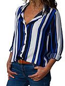 ราคาถูก เสื้อยืดสำหรับสุภาพสตรี-สำหรับผู้หญิง ขนาดพิเศษ เชิร์ต พื้นฐาน คอเสื้อเชิ้ต ลายแถบ สีน้ำเงิน