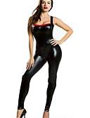 povoljno Zentai odijela-Zentai odijela Catsuit Odijelo za kožu Cosplay Djevojka za motocikle Odrasli Srednja škola Eko koža Cosplay Nošnje Žene Crn Jednobojni Maškare