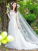 povoljno Vjenčanice-Krinolina Ovalni izrez Jako kratki šlep Čipka / Til Izrađene su mjere za vjenčanja s Aplikacije po LAN TING Express