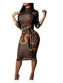 ราคาถูก เดรสผู้หญิง-สำหรับผู้หญิง คลับ Sophisticated เพรียวบาง ปลอก แต่งตัว รูปเรขาคณิต ยาวถึงเข่า