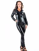 povoljno Zentai odijela-Izgledi Catsuit Odijelo za kožu Cosplay Djevojka za motocikle Odrasli Srednja škola Eko koža Cosplay Nošnje Žene Crn Jednobojni Maškare