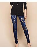 ราคาถูก เลกกิ้ง-สำหรับผู้หญิง เดนิม พื้นฐาน ที่ปกคลุมขา - สีพื้น, รอยจีบ ข้อมือระดับกลาง สีน้ำเงิน ขนาดเดียว / เพรียวบาง