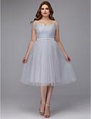 ราคาถูก Special Occasion Dresses-A-line ไหล่ตก ต่ำกว่าเข่า Tulle ค็อกเทลปาร์ตี้ / Prom แต่งตัว กับ ริบบิ้น / กากะบาท โดย TS Couture®